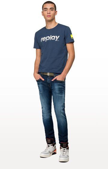 REPLAY | Night Blue Printed T-Shirt