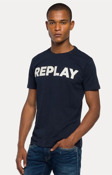 REPLAY | Navy Printed T-Shirt