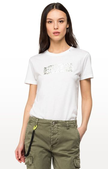 REPLAY | White Printed T-Shirt