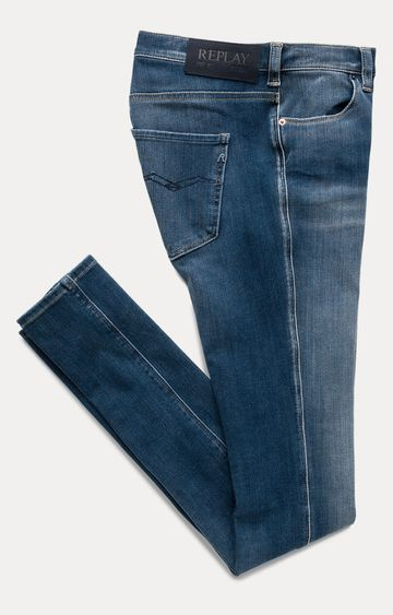 REPLAY | Blue Solid Straight Jeans