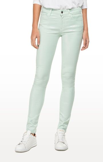 REPLAY | Iridescent Light Mint Solid Skinny Fit Jeans