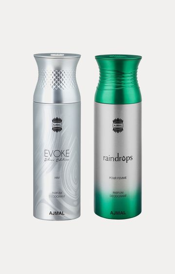 Ajmal | Evoke Silver Him and Raindrops Deodorants - Pack of 2