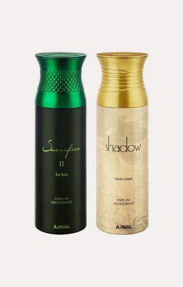 Ajmal | Sacrifice II Him and Shadow Her Deodorants - Pack of 2