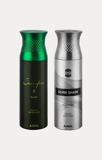 Ajmal   Sacrifice II Him and Silver Shade Deodorants - Pack of 2