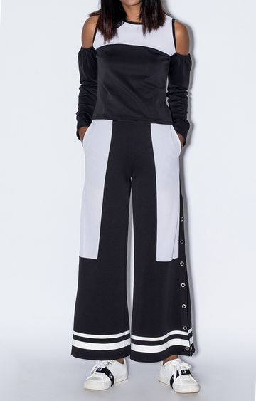 Myriad | White and Black Colourblock Trackpants