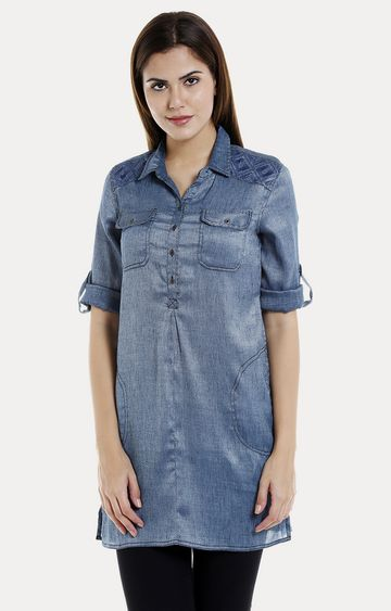 109F   Blue Solid Front 2 Pocket Tunic