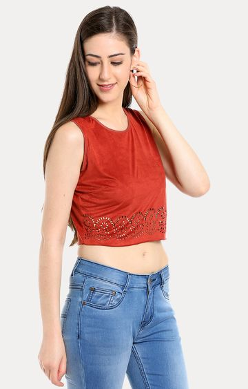 109F | Rust Solid Crop Top