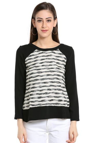 109F   Off White and Black Striped Top