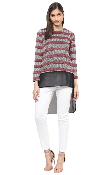 109F | Maroon and Black Striped Top
