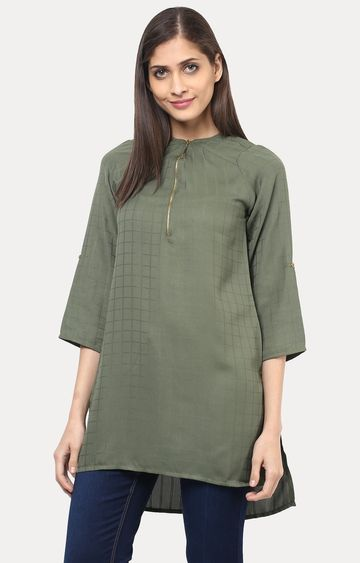 109F | Green Solid Tunic
