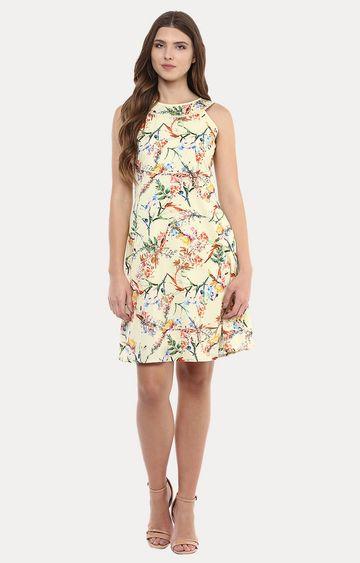 109F | Yellow Printed A-Line Dress