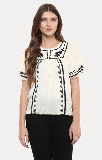109F | Cream Embroidered Top