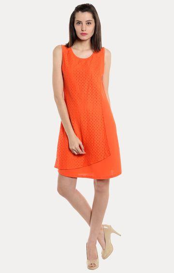 109F | Orange Solid Shift Dress