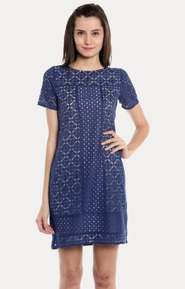 109F | Blue Solid Shift Dress