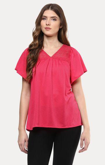 109F | Pink Self Pattern Top