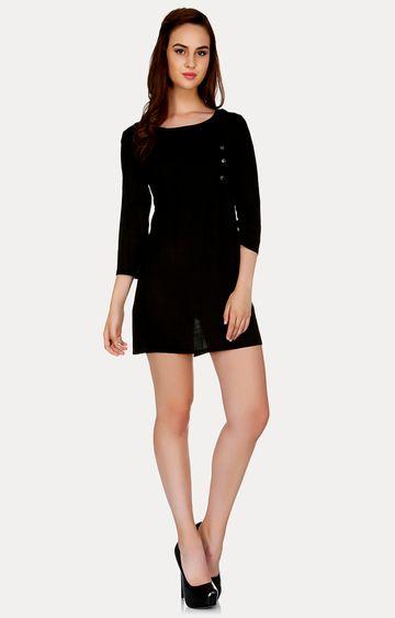 109F | Black Solid Shift Dress