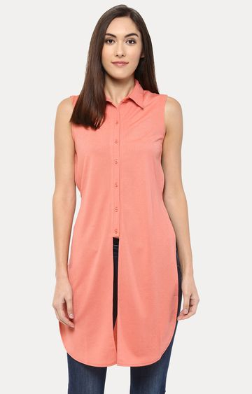 109F   Coral Solid Tunic