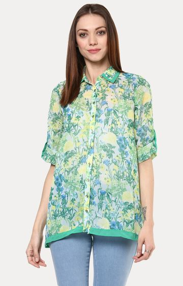 109F | Green Floral Tunic