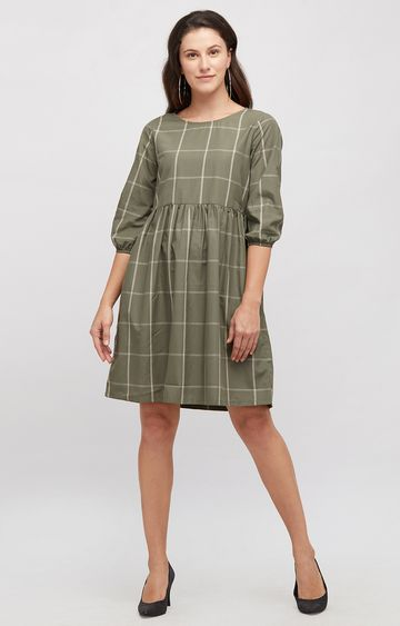 109F | Green Checked Skater Dress