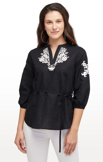 109F   Black Embroidered Top