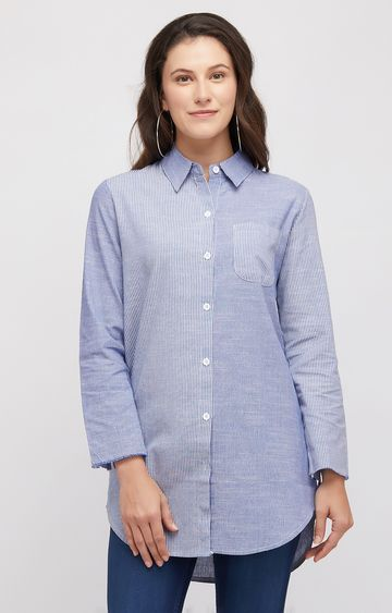 109F | Blue Striped Casual Shirt