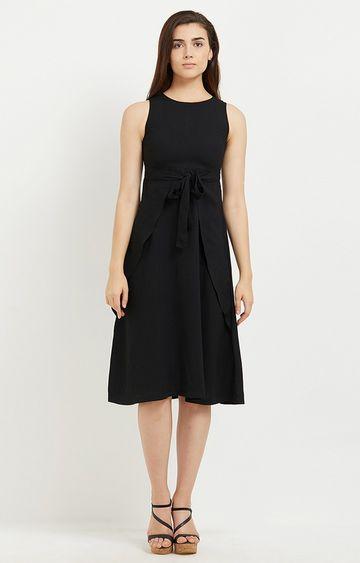 109F   Black Solid Skater Dress