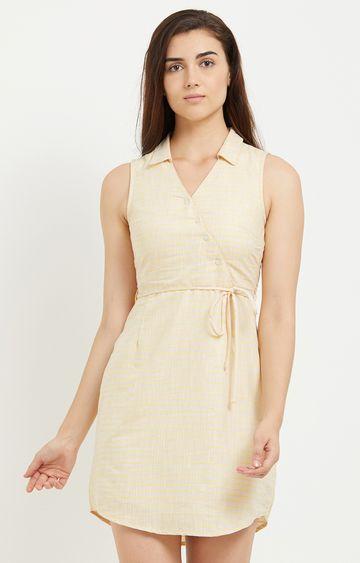 109F | Cream Striped Shift Dress