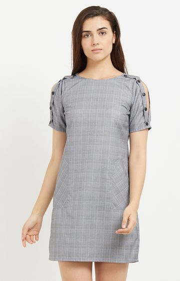 109F   Grey Checked Shift Dress