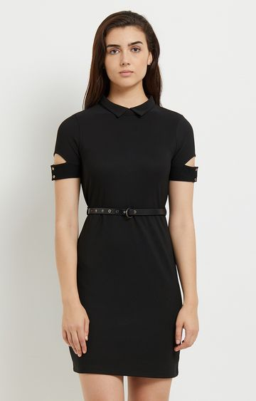 109F   Black Solid Cut Out Sleeves Dress with Belt
