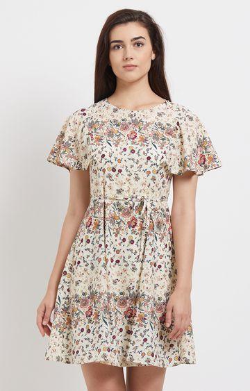 109F | Beige Floral Short Sleeved Dress