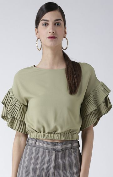 109F | Olive Solid Crop Top
