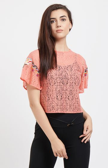 109F | Pink Self Design Top with Embroidery on Sleeves