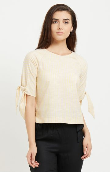 109F | Cream Striped Top with Tie-Up Sleeves