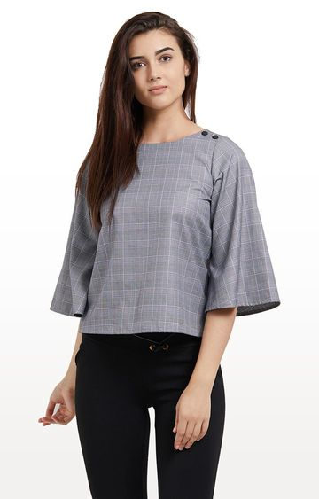 109F | Grey Checked Top