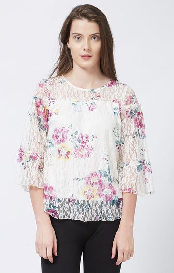 109F   White Floral Top