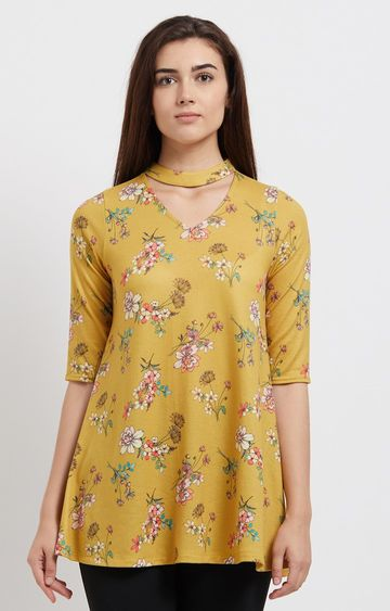 109F | Yellow Floral Tunic
