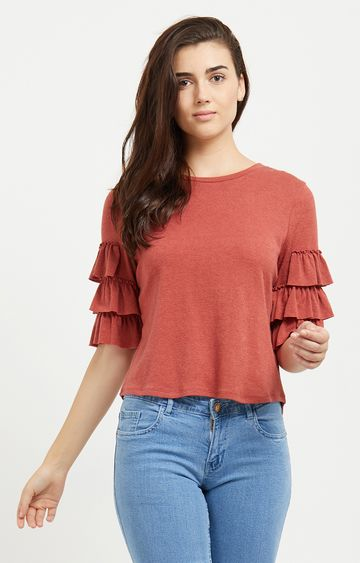 109F   Rust Melange Frill Layer Sleeved Top