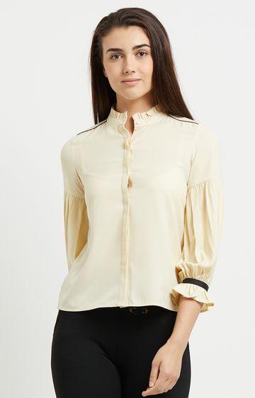 109F   Cream Mandarin Collar Shirt with Frilled Sleeves