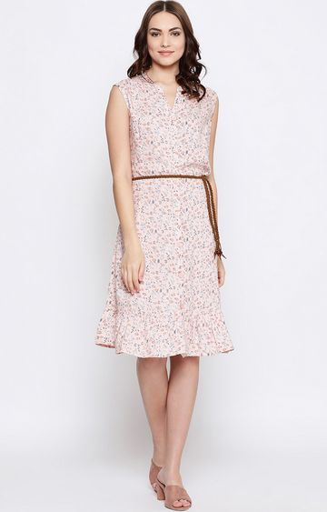METTLE | Peach Printed Skater Dress