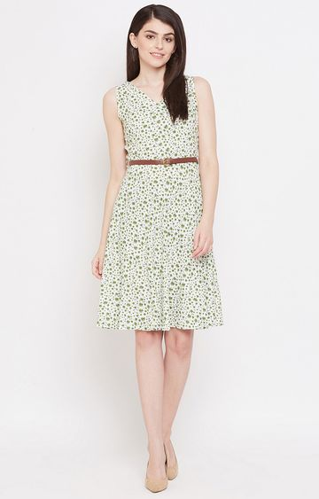 METTLE | Olive Printed Shift Dress