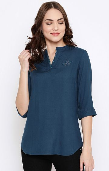 METTLE | Teal Solid Tunic