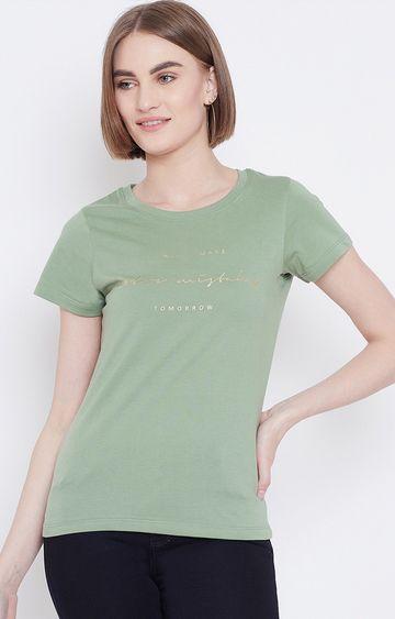 METTLE   Matte Green Printed T-Shirt