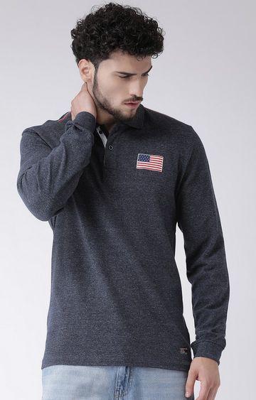 METTLE   Navy Melange Polo T-Shirt
