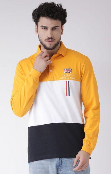 METTLE   Mustard and Navy Colourblock Polo T-Shirt