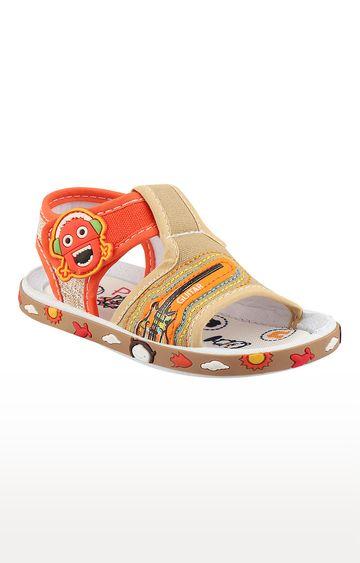 Rex | Beige and Orange Slip On Sandals