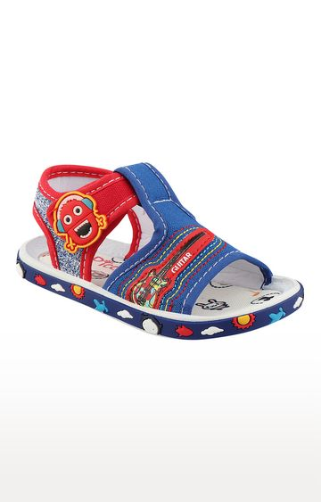 Rex | Royal Blue and Red Slip On Sandals