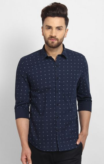 Cape Canary | Navy Printed Cotton Casual Shirt