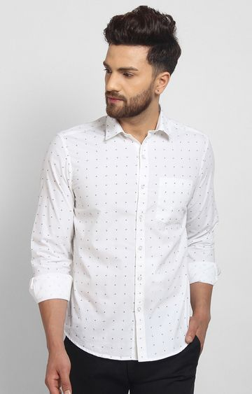 Cape Canary | White Printed Cotton Casual Shirt