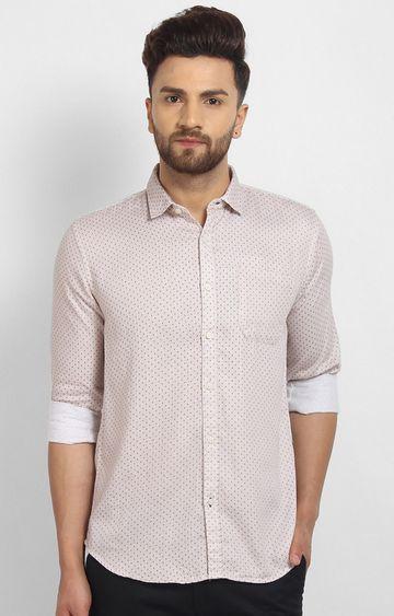 Cape Canary   Peach Printed Cotton Casual Shirt