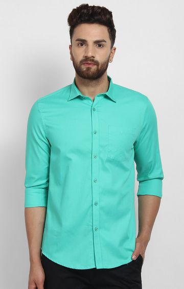 Cape Canary | Turquoise Solid Cotton Formal Shirt